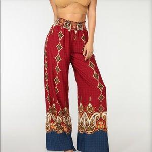 Fashion Nova high waist printed wide palazzo pant